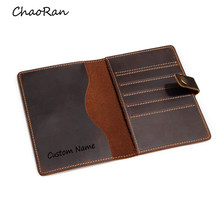 Custom Name Passport Holder Hasp Design Multi Card Holders for Men and Women Travel Card Wallet Leather Passport Cover Case(China)