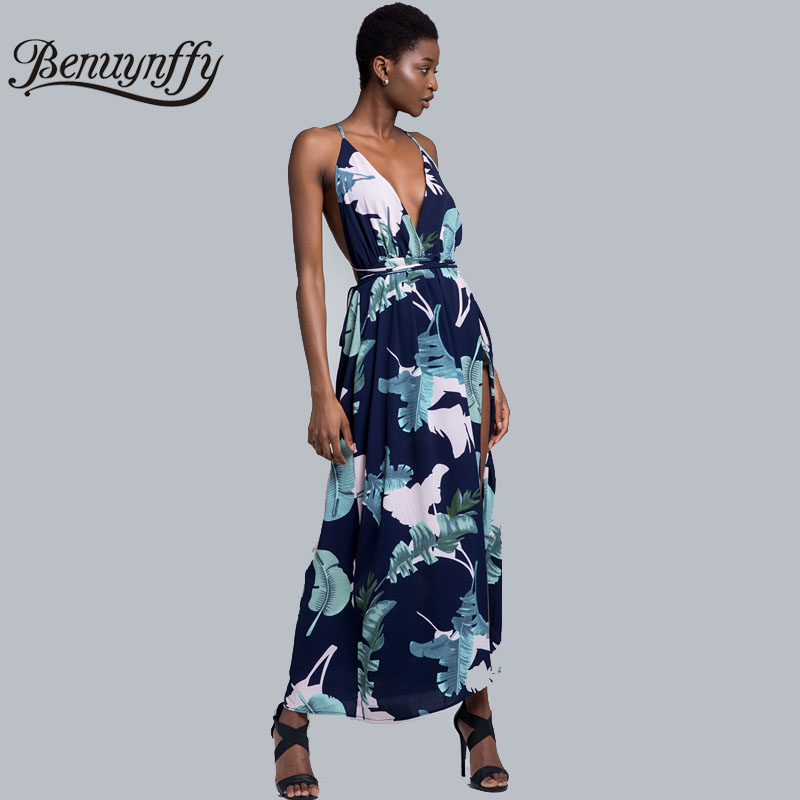 3952e3dd228 Benuynffy Sexy V-neck Floral Print Boho Dress Summer 2018 Backless  Spaghetti Strap Women Vacation Beach Slit Long Maxi Dress