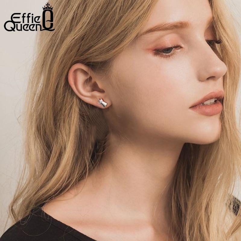 Effie Queen 100 925 Sterling Silver Stud Earrings For Women 11mm Chess Crown Funny Earring Silver 925 Jewelry Wholesale BE135 in Earrings from Jewelry Accessories