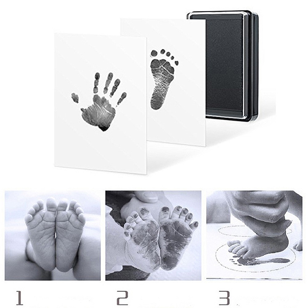 Baby Handprint Footprint Non-Toxic Newborn Imprint Hand Inkpad Watermark Recording Infant Growth Toys Footprint Ink Pad