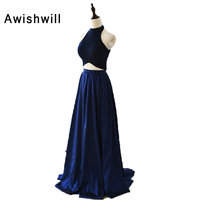 Royal Blue Elegant Formal Dress Evening Gown Two Piece A Line Open Back Halter Velvet Satin Cheap Party Dress Real Pictures
