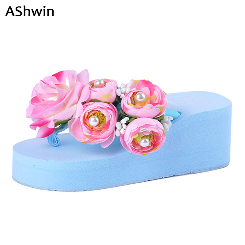 AShwin summer women sandals handmade luxury flower pearls wedge platform thong slippers jelly color sandal lady holiday 35-42
