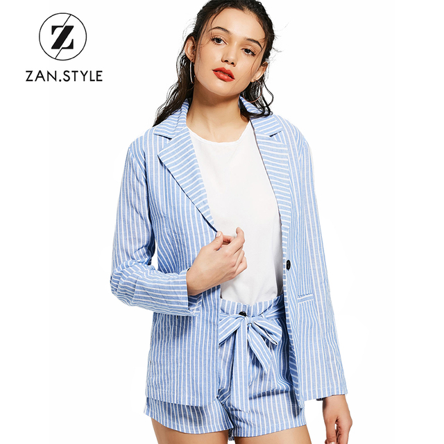 565e50b542 STYLE Office Ladies Blue White Striped Blazer Shorts Two Piece Set Turn  Down Collar Full Sleeve Button Blazer Bow Knot Short