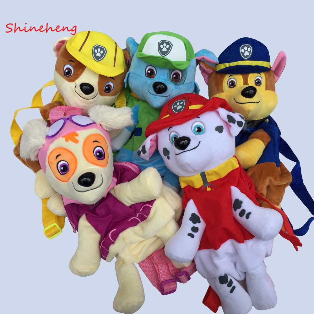 SHINEHENG Cute Cartoon Puppy Plush Backpack 40CM Cute Dog Bag Anime Figure Juguetes Kids Toy