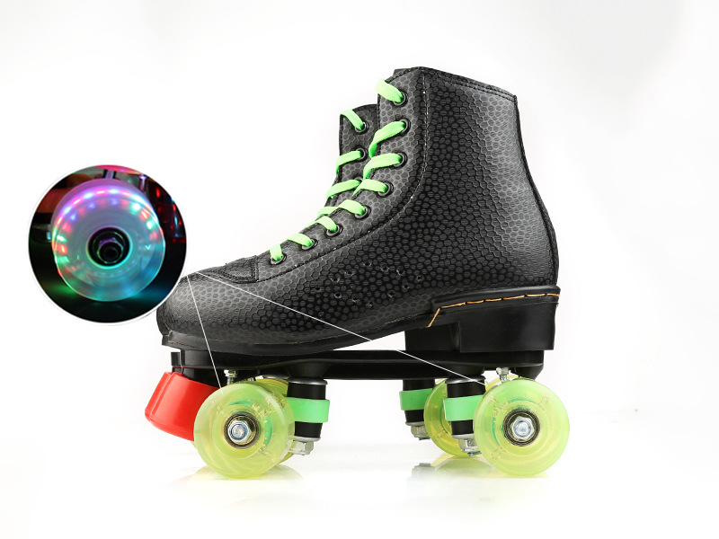 LK720 Genuine Leather Roller Skates Double Line Skates Men Adult Two Line Skating Shoes Patines with PU 4 Wheels japy roller skates geniune leather double line skate pink men women adult pink pu 4 wheels two line skating shoes patines c003