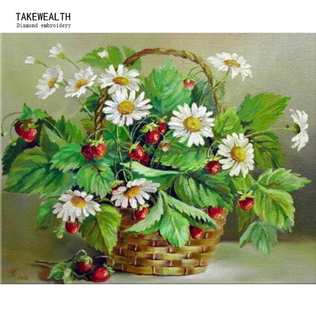 Margarita cestas DIY 5d diamante bordado flores blancas del grano ...