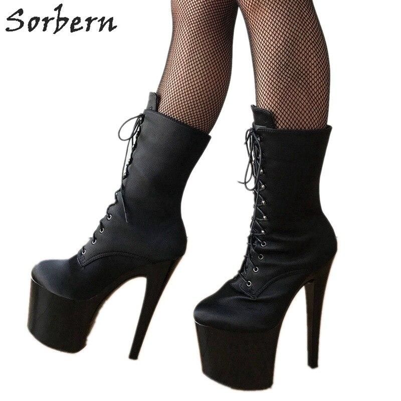 Sorbern 20Cm Platform Diva Fetish Ankle Boots For Women Custom Wide Calf Boot Unisex Plus Size 12 Silk Black Satin Ladies Shoes цены онлайн