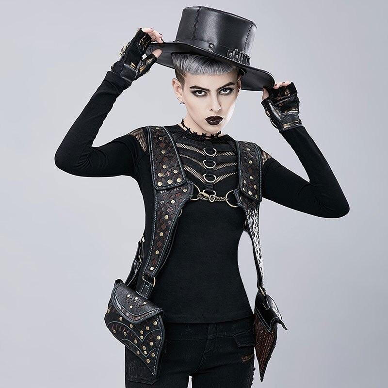 Corzzet gothique rétro Rock noir Rivets PU cuir Steampunk Packbag Cool gilet sac Burlesque Costume Cosplay accessoires