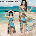 Summer family matching clothes chiffon sleeveless Mother Daughter Dresses Family look Clothing Beach mom and daughter dress