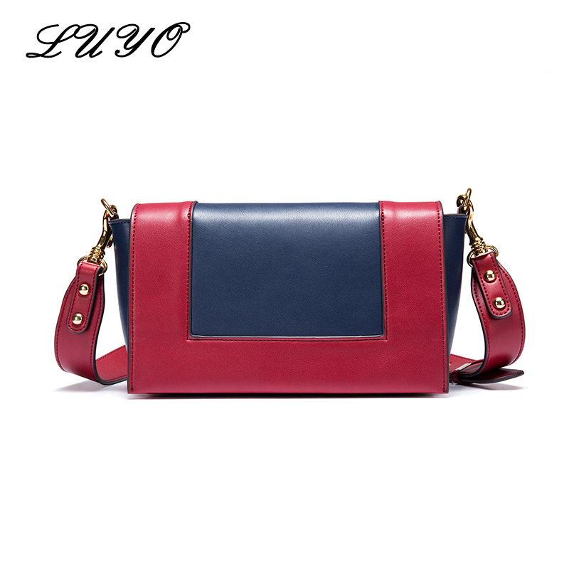 LUYO Summer Panelled Small Genuine Leather Girls Shoulder Crossbody Bag Luxury Handbags Women Messenger Bags Flap Designer Sac a1330 summer solid small flap bag ladies leather handbags women messenger bags female shoulder crossbody bag candy color sweet