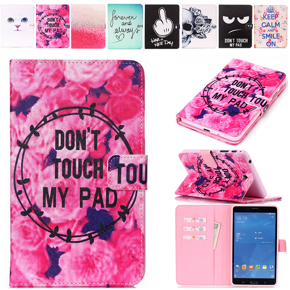 Fashion 10 Patterns Painting for Samsung Galaxy Tab 4 7.0 T230 T231 T235 Leather Case Cover Stand for Galaxy T230 Tablet Cases