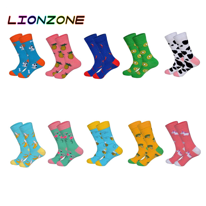 LIONZONE 10Pairs Newly US8-12 Men&Women Couples Tide Funny Socks Short Cotton Sock Streetwear 2019 Animals Fruit Happy Socks