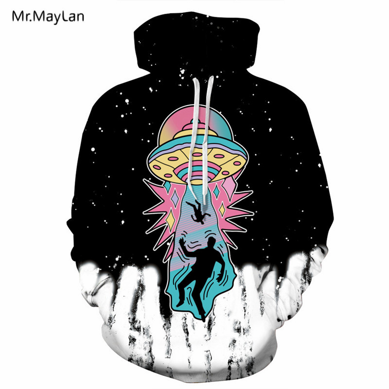 UFO Print 3D Hooded Sweatshirts Unisex Men Women Hoodies Tracksuits Spring Autumn 2018 Fashion Hoody Tops Jackets Sweat homme