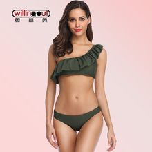 Solid One Shoulder Beach Swimwear Sexy Ruffle Flouncing Bathing Suit Four Color Push Up Summer Bikini Set Hollow Side Swimsuit
