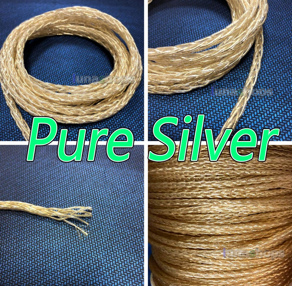 50m 8*(7*0.14mm) 8 Cores 99.99% Pure Silver + Gold Plated Earphone DIY Custom Cable (Not Telf)8*1.15mm OD:4mm hannabach nylon classical guitar strings 600 & 800 silver plated 728 custom made 815 silver special 825 pure gold 850 psp
