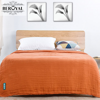 Cotton Gauze Blanket Air Conditioning Blanket Throw Soft Throw on Sofa/Bed/Plane Travel Air Conditioning Solid Blanket