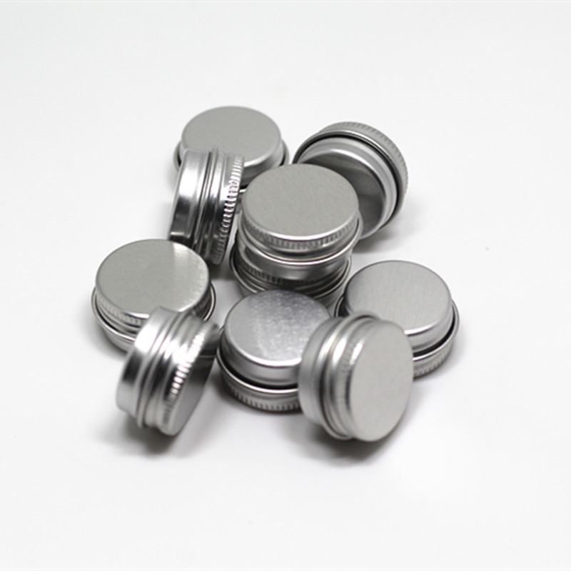 10ps 5g Refillable Containers Aluminum Empty Cosmetic Silver Box Screw Jar Portable Travel Tin Packing Box Makeup Cream Lip Balm