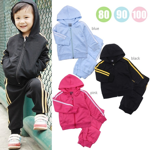 2017 Spring Children Sport Suits Black Pink Boys Hooded Jackets Trouser Suit Girl Clothes Set Fashion Baby Boy Outfits Tracksuit