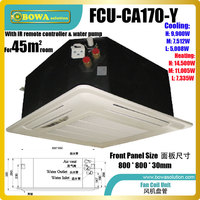 45m2 room ceiling cassette fan coil unit (FCU) are an excellent delivery mechanism for hydronic chiller boiler systems in cities