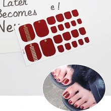 купить Toe Nail Stickers Waterproof Fashion Toe Nail Wraps Nail Art Full Cover Adhesive Foil Stickers Manicure Decals D11 дешево