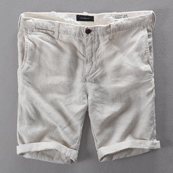 100% Linen Shorts Men Summer Short Pants