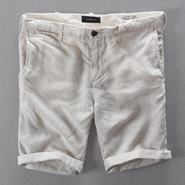 100% Linen Shorts Men Summer Short Pants
