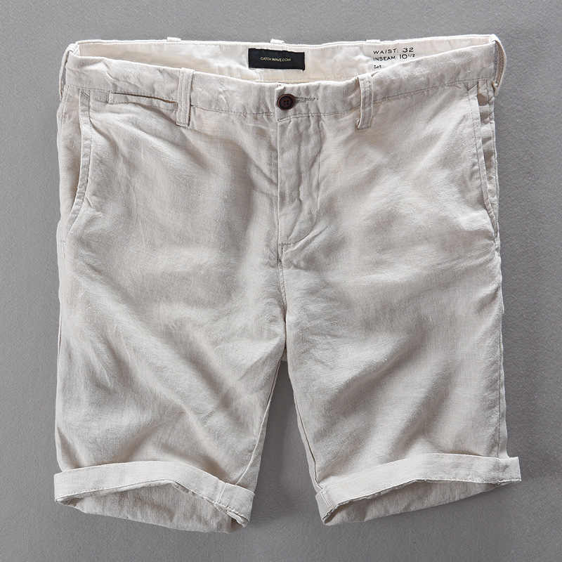 1ae9ec6845 100% Linen Shorts Men Summer Short Pants Men Brand Casual Shorts Men  Fashion Loose Trousers