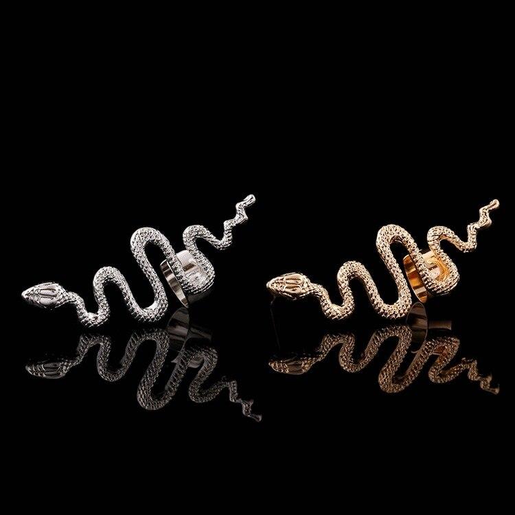 WLP font b jewelry b font 2017 New Fashion heart snake earring Punk Rhinestone Clip Earrings