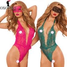 OXOSEXY 2017 Novas Mulheres rendas Lingerie Sexy hot Perspectiva profunda v neck halter sexy costumesbabysuit sexy teddy sexy underwear 756