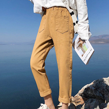 five colors Straight woman's jeans vintage casual loose jeans woman spring autumn fashion big pocket elastic high waist jeans salzburg зальцбург city pocket the big five