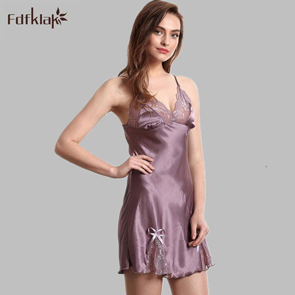 Summer Sexy Silk Nightgowns Lace Satin Nightwear Spaghetti Strap Sexy Night  Clothes Womens Sleepwear Women s Lingerie E1115 dc0cede9b