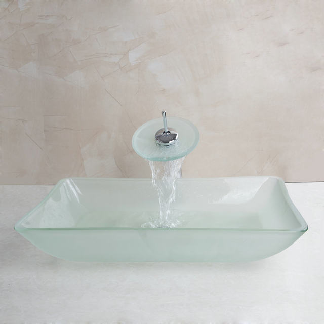 OUBONI Tempered Scrub Glass Basin Sink Washbasin Faucet Set Counter Top  Washroom Vessel Vanity Sink Bathroom Water Mixer Tap