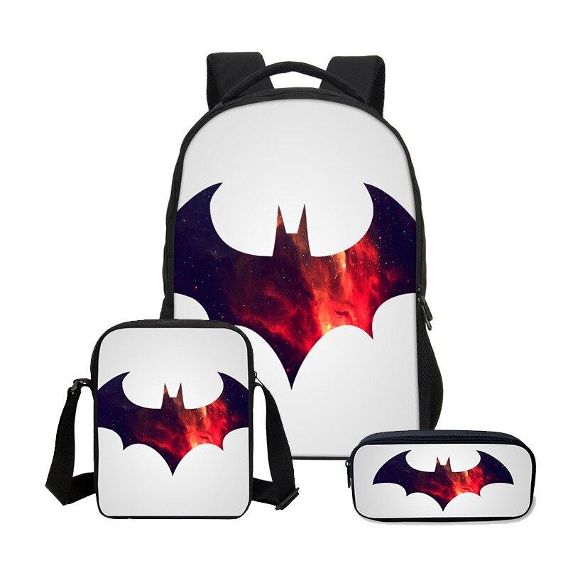3pcs Batman Bat Man Hero Boys Girls School Bag Shoulder Bag Backpack Pencil Case Children Students Mochila Back To School Gift 9