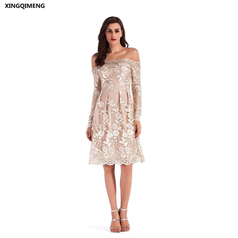 In Stock Sexy Boat Neck Embroidery Long Sleeve Cocktail Dress Lace
