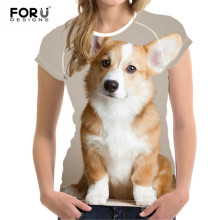 FORUDESIGNS Welsh Corgi Pembroke Short Sleeve T-shirt Women Small Fresh Casual Tees Tops Female T Shirt Girl Lovely Animal Print