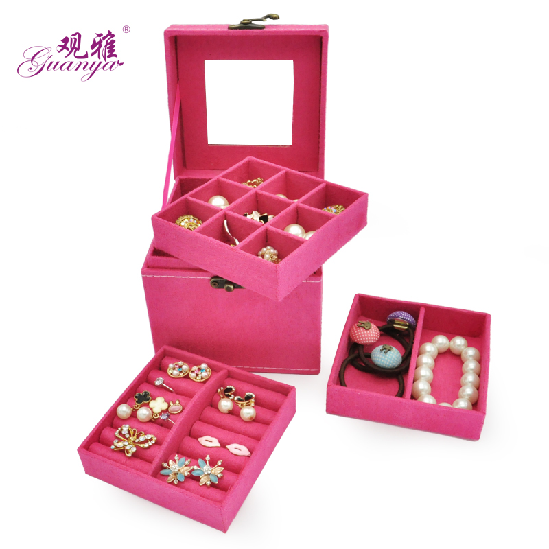 Free Shipping Candy Colors Jewlery Casket Makeup Organizer 3 Trays Box For Jewelry Flannel Inside Festival Gift Wholesale