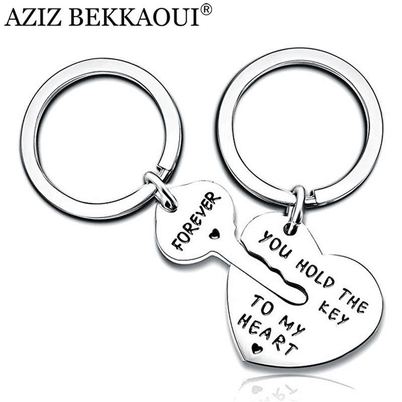 AZIZ BEKKAOUI Key&Heart Couple Keychain Women Men Keyring YOU HOLD THE KEY TO MY HEART FOREVER Couple Lovers Gift Dropshipping