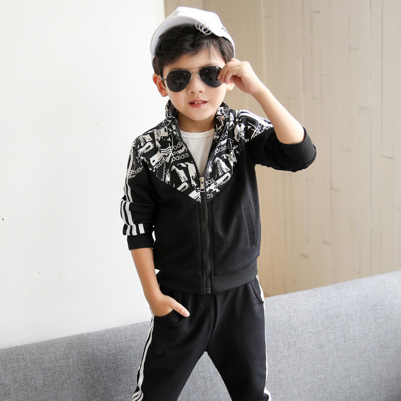 2017 autumn new suit boy leisure printed flower flower pull set of two sets of students sportswear 5 6 7 8 9 10 11 12 13 14 year baby clothes 5 14 t new leisure boy suit children off two pieces of beard