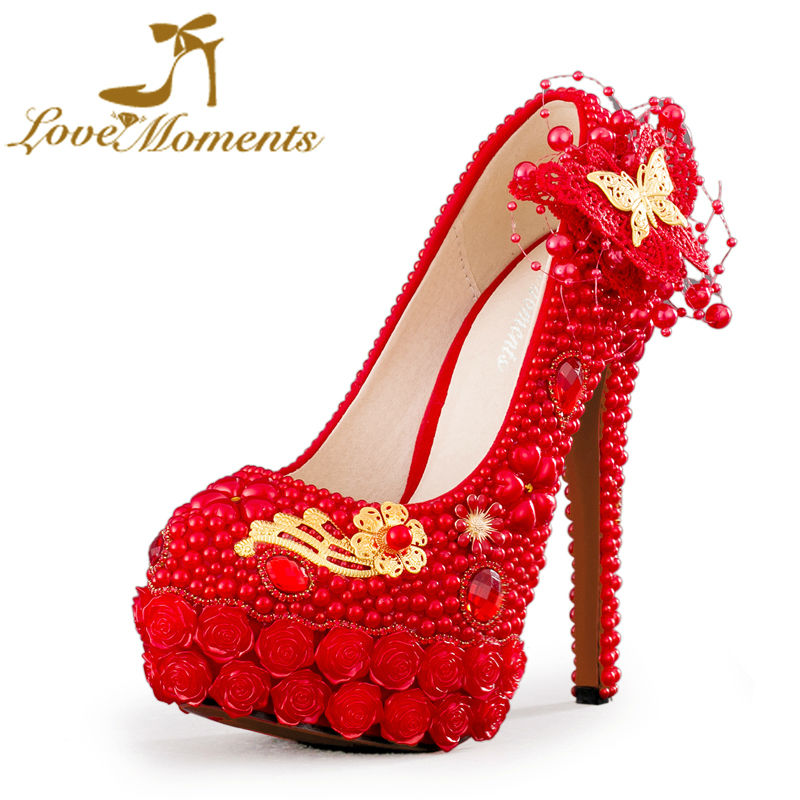 Love Moments Handmade red wedding shoes red pearl women shoes pumps platform wedding dress party ladies pumps mariage party Heel