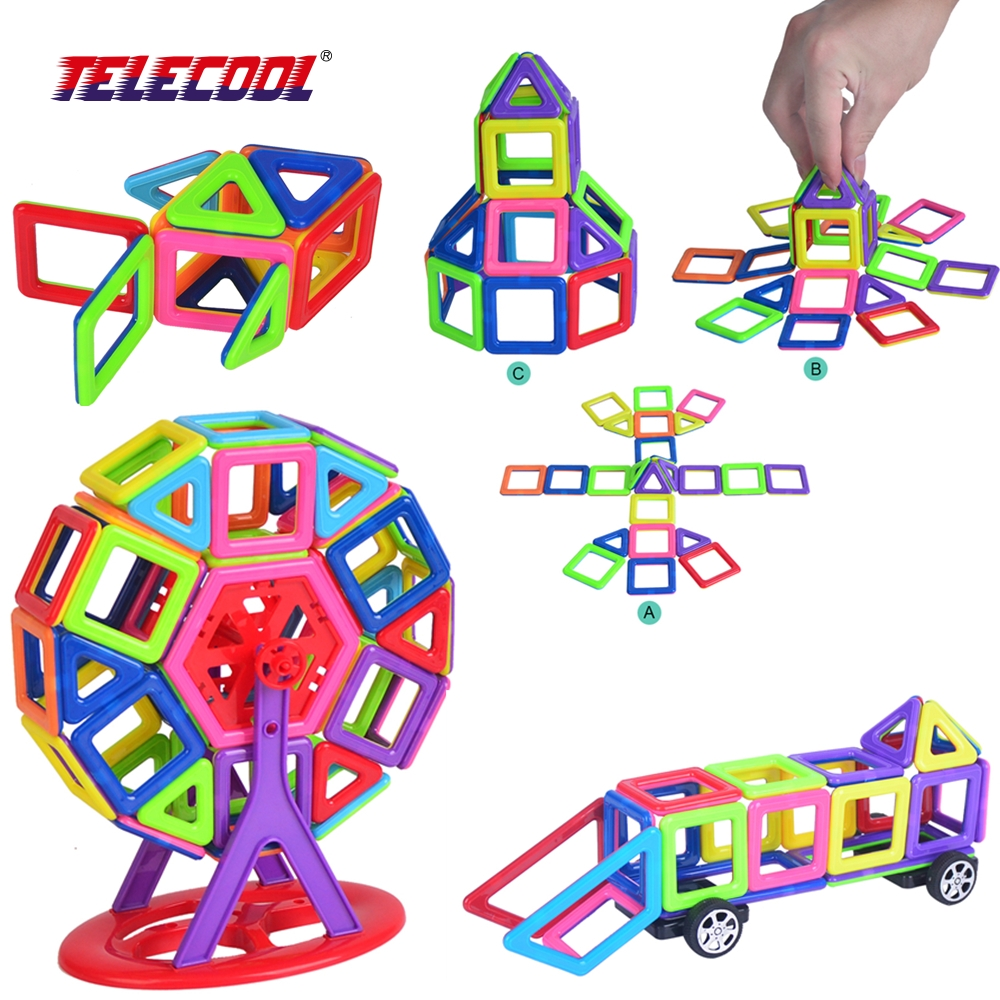TELECOOL 42/104pcs set 3D Magnetic Models Building Blocks JOY MAGS Brand Enlighten Educational Mini Designer Toys For Children 150pcs joy mags brand magnetic tiles models blocks diy building toys inspire adult