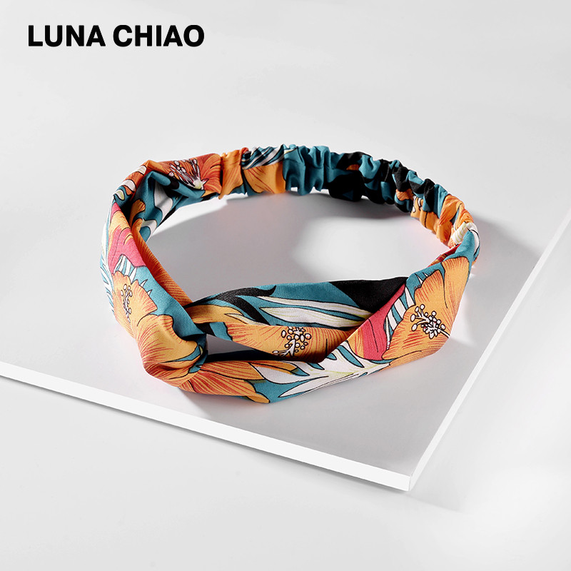LUNA CHIAO Fashion Women Hair Accessories Wild Flower Printed Floral Fabric Headbands Bohemian Boho Soft Knoted Hairbands