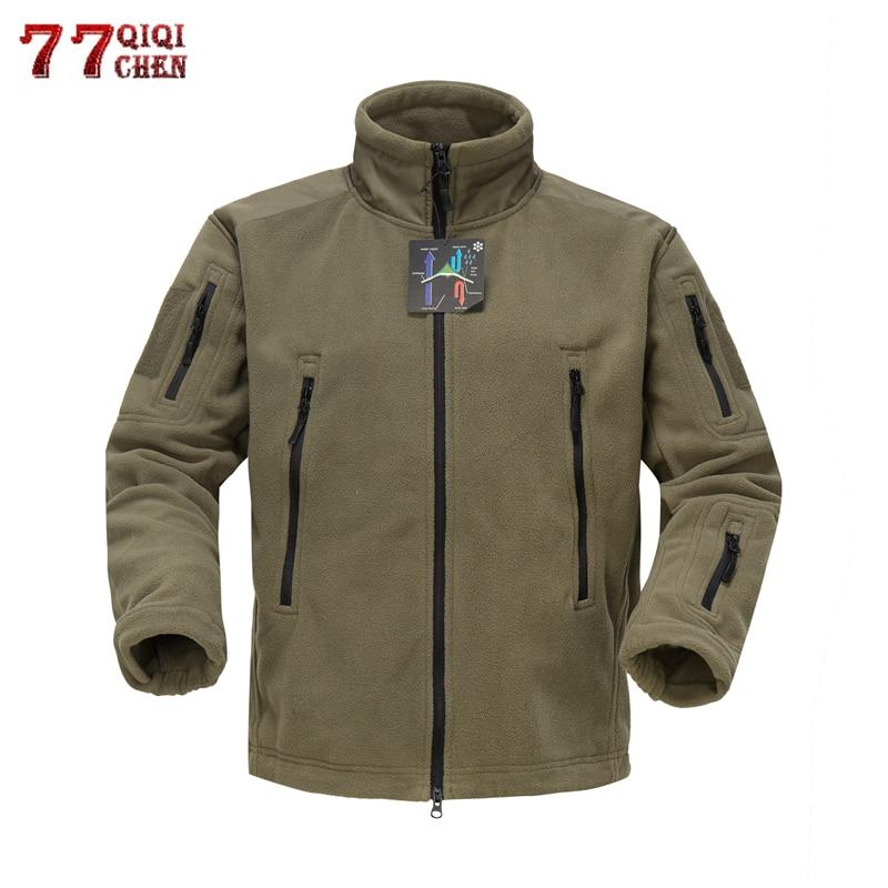 Winter Tactical Thicken Fleece Jacket Men Warm Polar Military Army Thermal Jacket Patchwork Multi Pocket Men Outwear Hoodie Coat