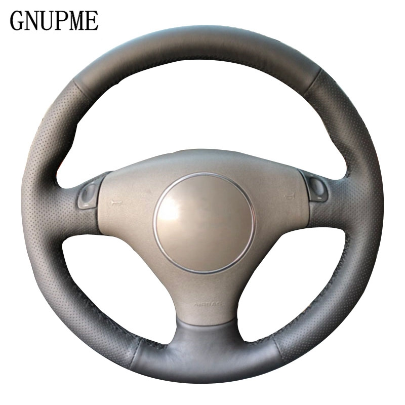 GNUPME Black Steering Cover Hand-Stitched Artificial Leather Car Steering Wheel Cover For Audi A4 2000-2005 Audi A6 2000-2004