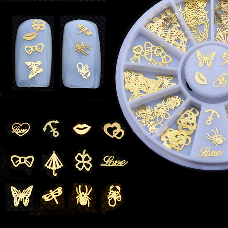 1Box Nail Art Rhinestones Metal 3D Design Nail Decorations Mixed Gold Slice Wheel Nail Jewelry Decoration For nails random color nail rhinestones wheel 2mm acrylic nail art rhinestones decoration for uv gel polish deco diy nail tools
