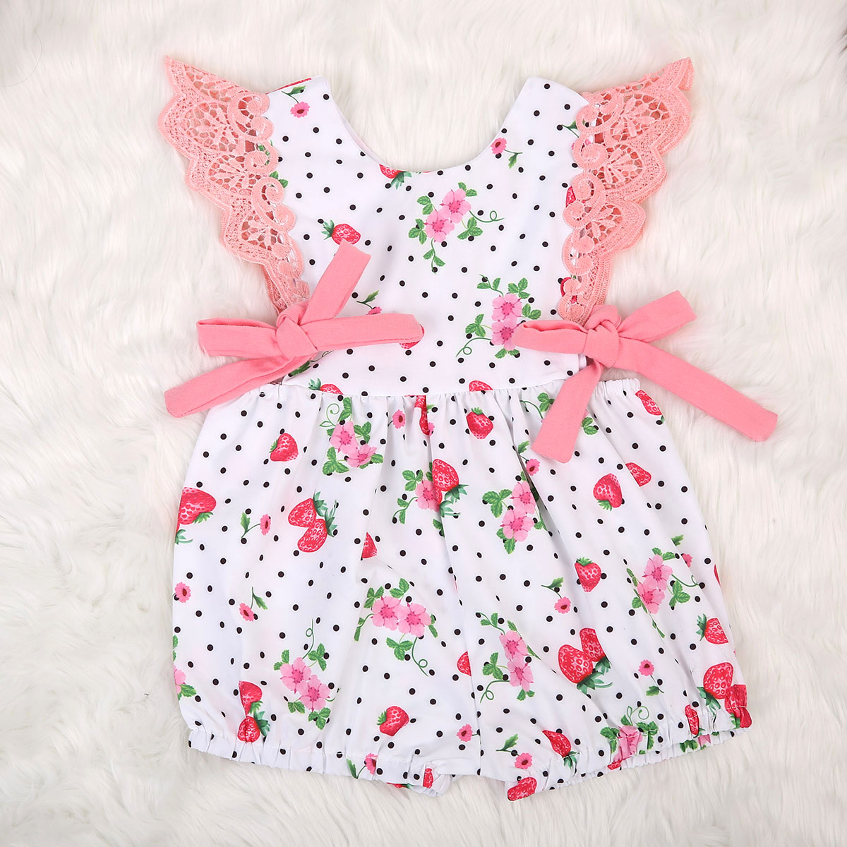 2017 Summer Newborn Cute Baby Girls Strawberry   Romper   Sweet Bow tie Jumpsuit Outfit Sunsuit Clothes Sunsuit