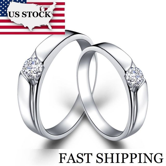 USA STOCK Uloveido Fashion Wedding Rings for Men and Women Vintage Silver Cubic Zircon Engagement Ring for Lovers Jewellery J016