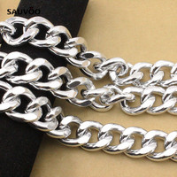SAUVOO 1meter Lot Silver Color Aluminum Chunky Big Link Chain 22 5 28 6mm Bracelet Necklace