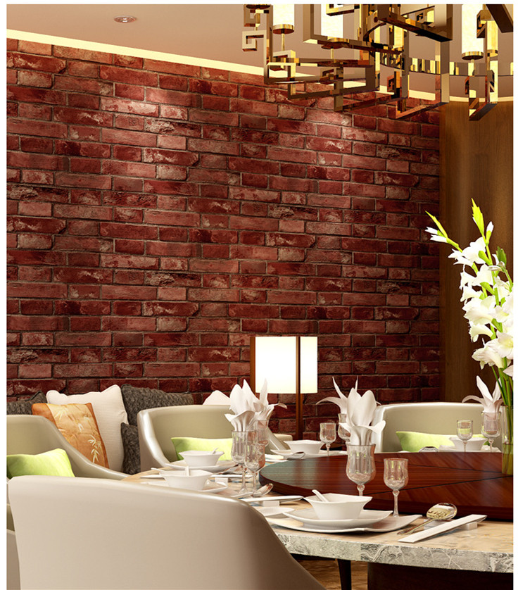 Rustic Vintage 3D Faux Brick Wallpaper Roll Vinyl Old Stone Wall Paper For Restaurant Cafe Decor Colors Yellow Red Black Grey retro nostalgia 3d three dimensional imitation brick wallpaper cafe bar restaurant culture stone red brick wallpaper