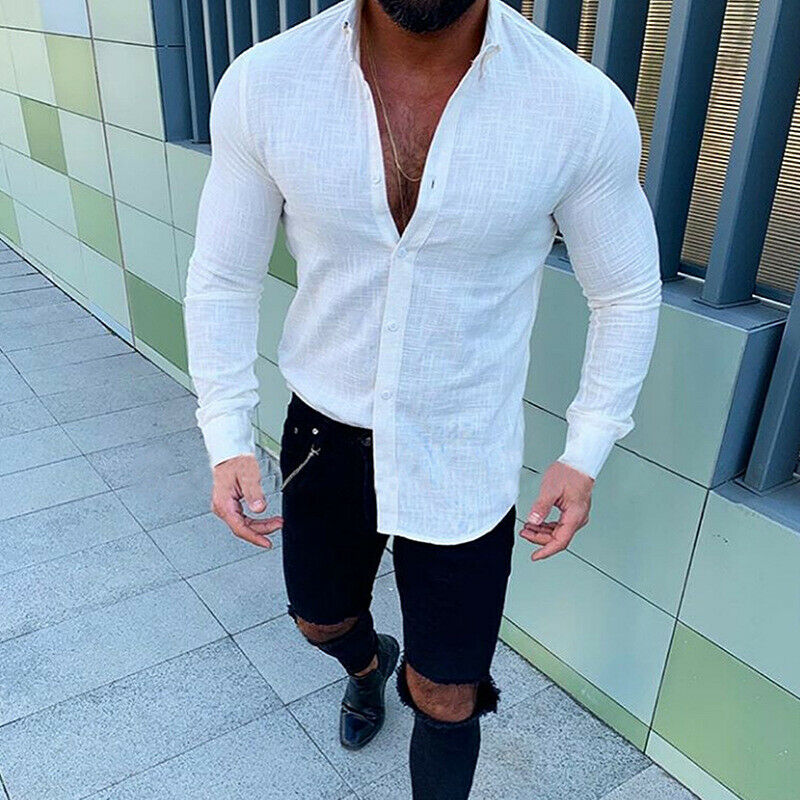 Mens Linen Long Sleeve Shirt Summer Cool Loose Casual Shirts Tops V-Neck M-2XL