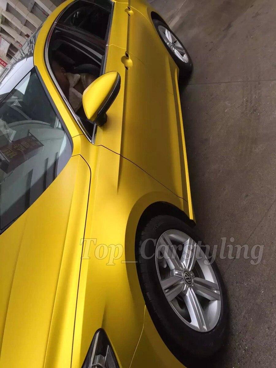 Or mat Chrome vinyle film jaune métallisé mat chrome vinyle wrap voiture emballage autocollant avec bulle d'air libre 1.52x20 m/roll